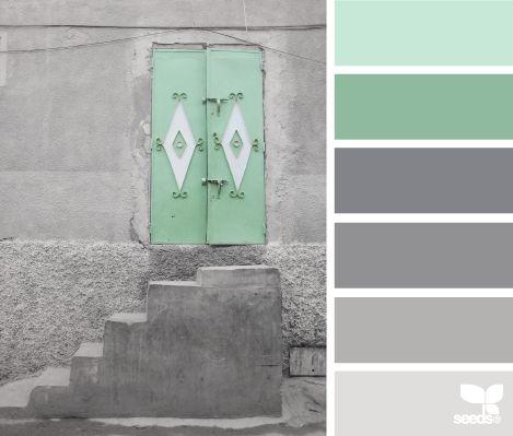 Nuancier vert menthe et gris.