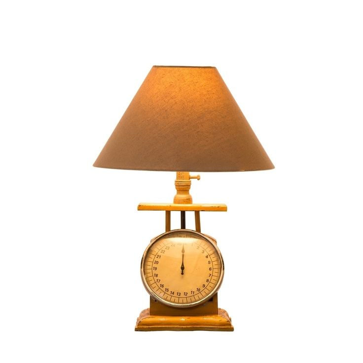 Glitzhome Wooden Electronic Scale Table Lamp, Beige