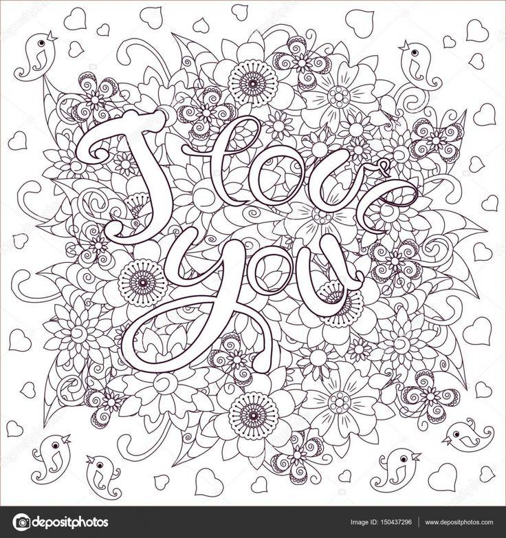 Цветочные монохромный каракули стиль фона с рисованной буквы я тебя люблю, запасов векторные иллюстрации — стоковая иллюстрация #150437296