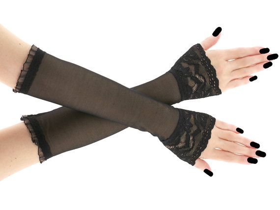 Black long fingerless gloves arm warmers  by FashionForWomen