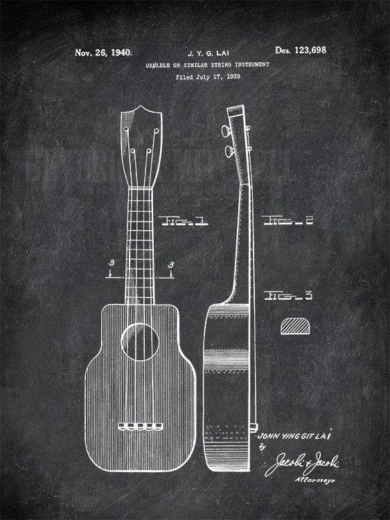 Ukulele Or Similar String Instrument J. Y. G Lai 1940 Music Patent Print