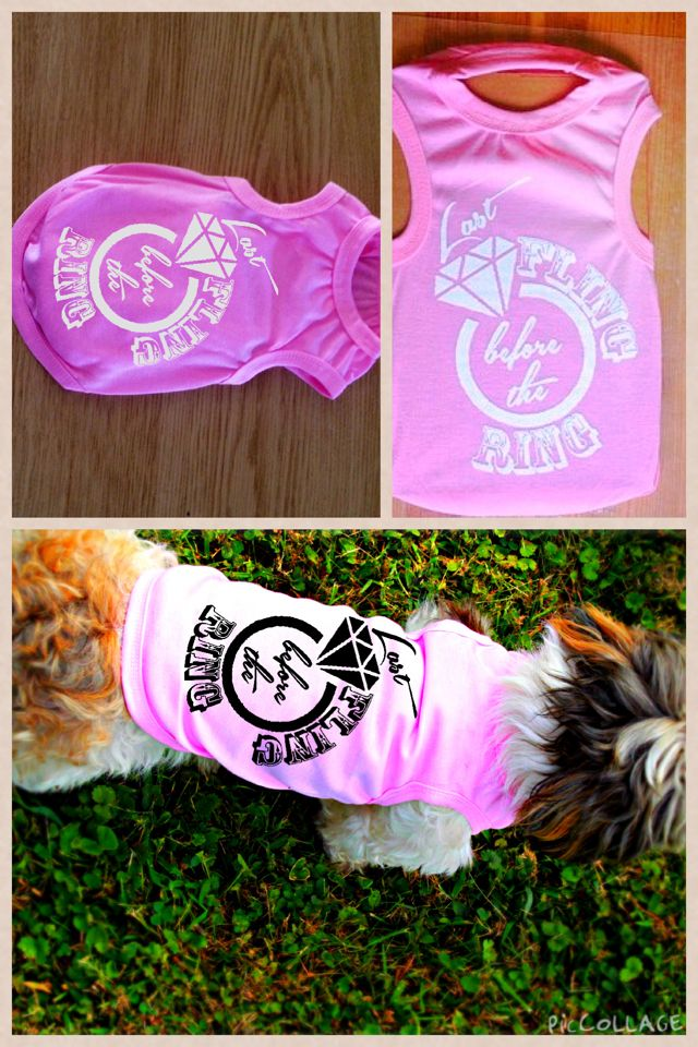 Latest custom dog tank we designed for a young lady having a bachelorette party and wanted her pup to be dressed for the occasion! Turned out so cute! - Brave Angel Shop - Custom Dog Shirts - Custom Dog Tank Top - Last Fling Before the Ring - Bachelorette party shirt