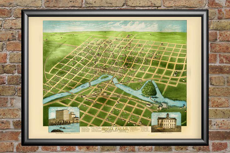 Sioux Falls, South Dakota Vintage Map - 1881 Bird's Eye View of the City
