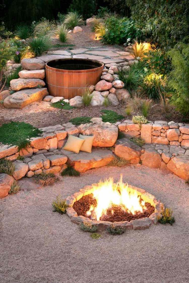 Mediterranean style outdoor cushion rock patio umbrella hot tub patio - Foyer Ext Rieur Et Grandes Pierres Pour Enjoliver Le Jardin