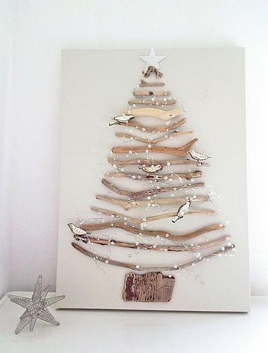 Kerstboom van takjes. Koop een schildersdoek en plak de takjes in een vorm van een kerstboom op het schildersdoek met een lijmpistool. Een stukje schors vormt de stam van de boom. Je kunt er eventueel wat lichtjes aan toevoegen. Versier de boom met wat leuke kleine kerstdecoraties en dunne slingertjes of maak zelf een leuke vlaggetjes slinger van papier en touw.