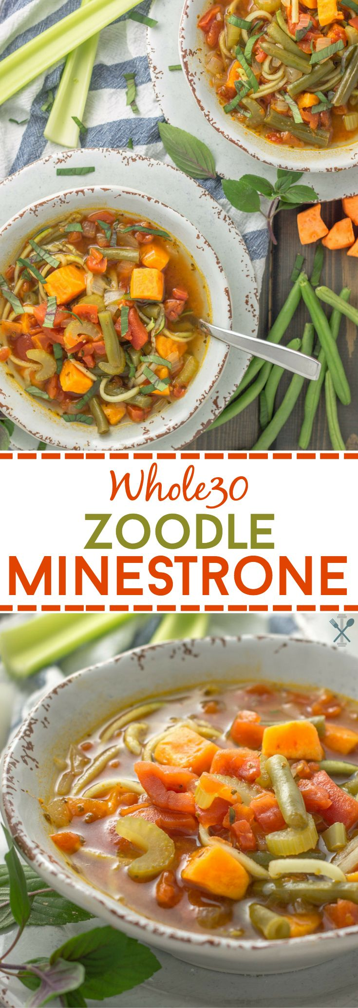 This vegetarian Whole30 soup is inspired by classic minestrone, using sweet potatoes and zucchini noodles! A delicious and quick fall soup recipe in under 40 minutes!