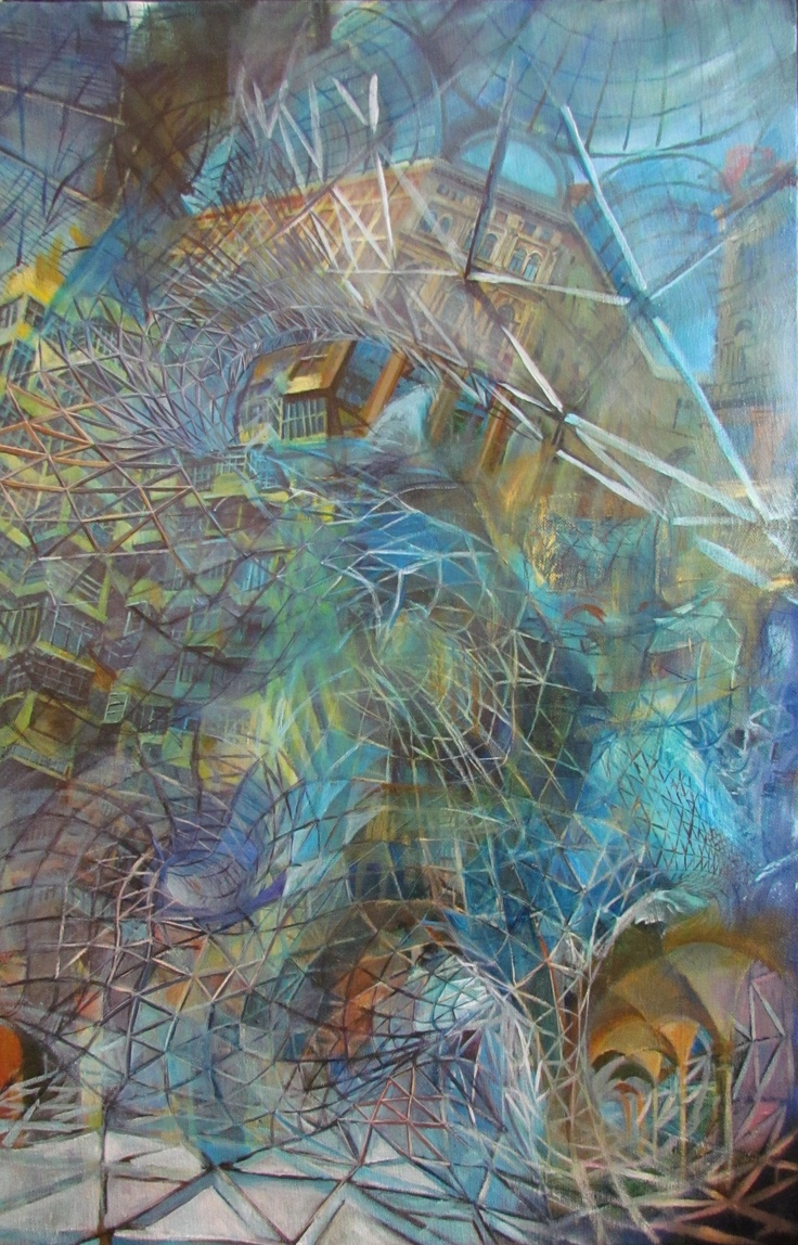 """""""Frankfurt Mall."""" 3' X 5' Acrylic on textile fabric. Abstract Architecture Painting inspired by a mall in Frankfurt, Germany. I really loved the glass structure and tried to implement the same idea of a glass wave in this painting."""