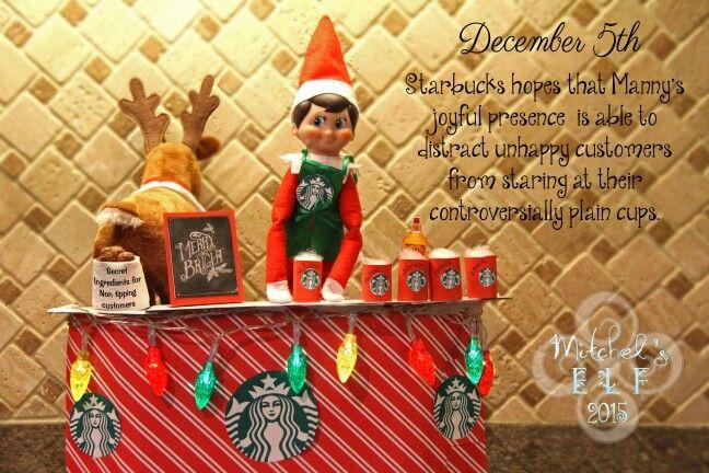 Elf on the shelf working at Starbucks.