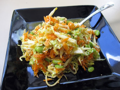 Asian inspired crunchy cabbage slaw with edamame, sesame seeds ...
