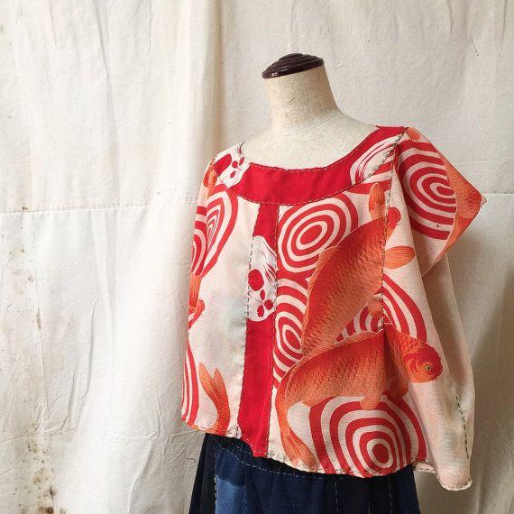 Kimono Remake Blouse Thin Short Sleeve Blouse by JapaneseBOROshop
