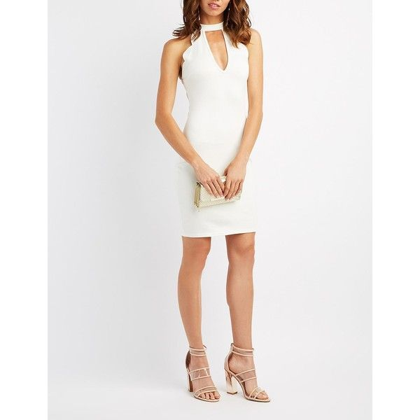 Charlotte Russe Scalloped Cut-Out Bib Neck Bodycon Dress ($29) ❤ liked on Polyvore featuring dresses, white, white dress, scalloped dress, white cutout dresses, cutout bodycon dresses and white scalloped dress