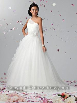 Ball Gown One Shoulder Tulle Satin Sweep Train Flowers White Wedding Dresses