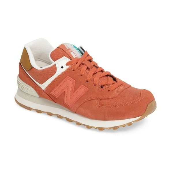 Women's New Balance 574 Global Surf Sneaker ($80) ❤ liked on Polyvore featuring shoes, sneakers, pink clay, suede leather shoes, new balance, new balance trainers, new balance footwear and new balance sneakers