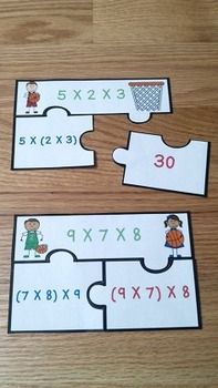 Associative Property of Multiplication Game Puzzles 3.OA.B.5, serve as a valuable asset to any 3rd grade math classroom. This is great resource for review, math centers, group work and for math interventions. This associative property puzzle set includes 20 basketball themed puzzles and an optional center instruction page. Your students will love becoming Associative Property All Stars!