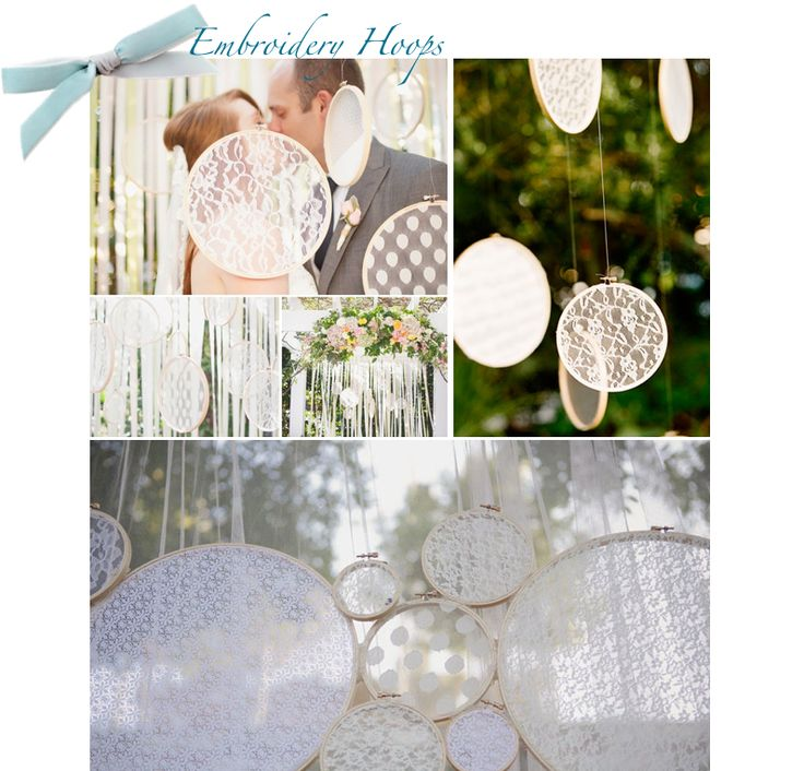 lace covered embroidery hoops that let the natural light through...beautiful!