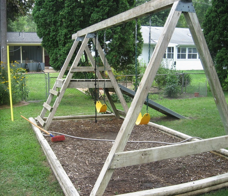 Free simple wood swing set plans woodworking projects for Building a wooden swing