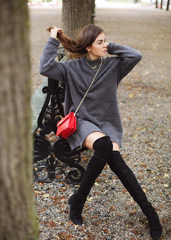Sweater dress + over-the-knee boots + colorful purse is my new favorite fall/winter style recipe. Luckily I live in a climate that allows for this sort of outfit (sometimes). x