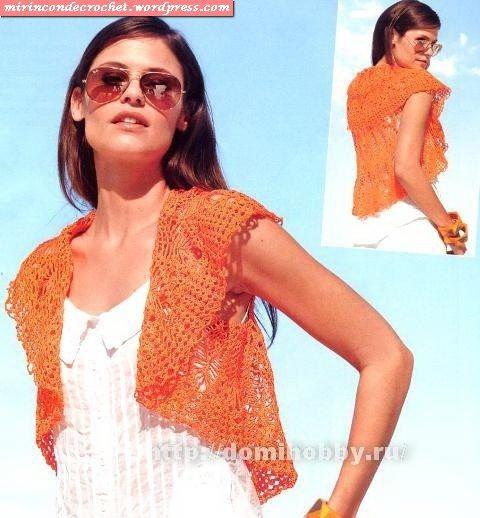 Chaleco - con patrón: Circles, Circular Crochet, Crochet Boleros, Crochet Vest, Free Patterns, Crochet Tops, Crochet Prenda, Crochet Clothing, Crochet Shrug