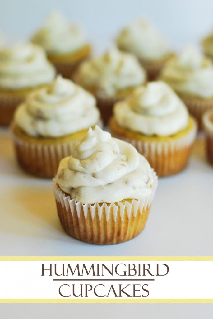 Hummingbird Cupcakes with Toasted Pecan Cream Cheese Frosting
