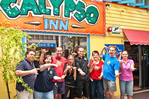 The fun staff of Calypso Backpackers in Cairns