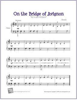 On the Bridge of Avignon | Free Sheet Music for Easy Piano - http://makingmusicfun.net/htm/f_printit_free_printable_sheet_music/bridge-of-avignon-piano.htm