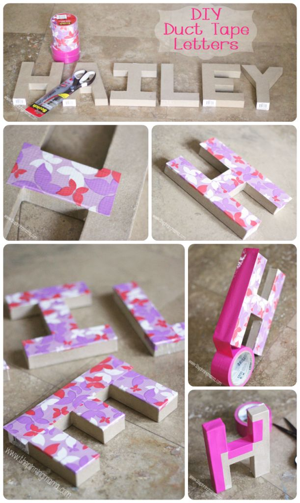 Duct Tape Mongrammed Letters by www.thepinningmama.com