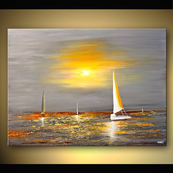 Abstract Seascape Painting Sail Boat Art Huge Textured Painting Yellow and Gray Painting ORIGINAL by Osnat 48X36