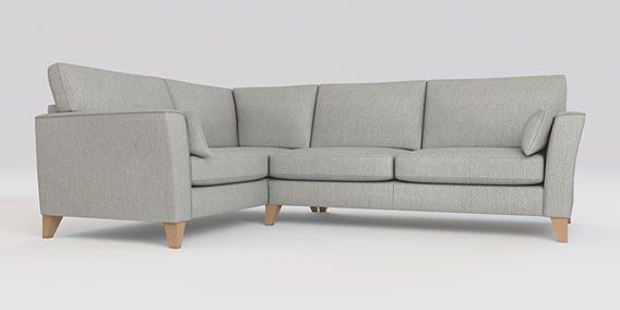 Buy Elliot Corner sofa - left hand (4 seats) Cosy Twill Light Grey Mid Tapered - Light from the Next UK online shop