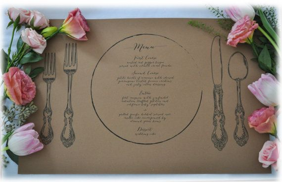 Kraft Paper Placemat perfect for wedding or by Poppyandpeonies