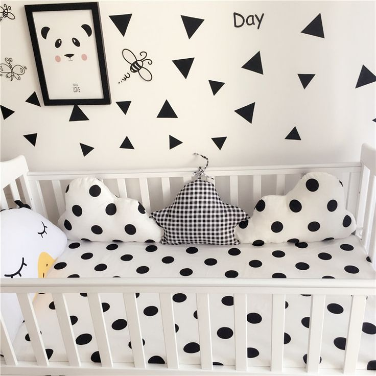 26.68$  Buy here - http://aliw5d.shopchina.info/go.php?t=32793150474 - 120x30cm black white clouds star shape baby crib bumper crib liner cotton curtain baby cot sets baby bed protector 26.68$ #aliexpresschina