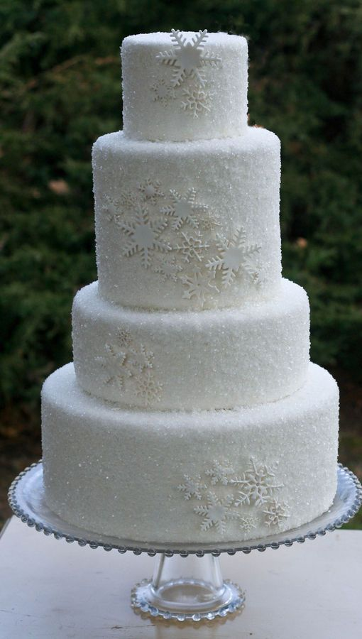 White fondant with sanding sugar and white snowflakes; beautiful holiday/winter cake! One problem-you won't want to cut it!! :-)