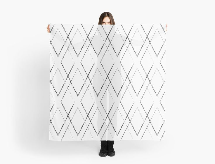 Geometric monochrome diamond pattern by LunaPrincino #lunaprincino #redbubble #print #prints #art #design #designer #graphic #clothes #for #women #apparel #shopping #scarf #scarves #accessories #spring #2017 #office #fashion #style #pattern #geometric #geometry #ornament #lines #diamond #rhombus #grunge #black #and #white #monochrome #ink