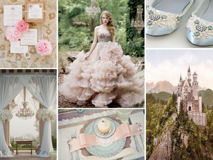 Aurora's wedding ~ pink and blue should play dominant roles in your color scheme (who could ever forget Aurora dancing with her prince while her fairy godmothers changed her gown from pink to blue!?).