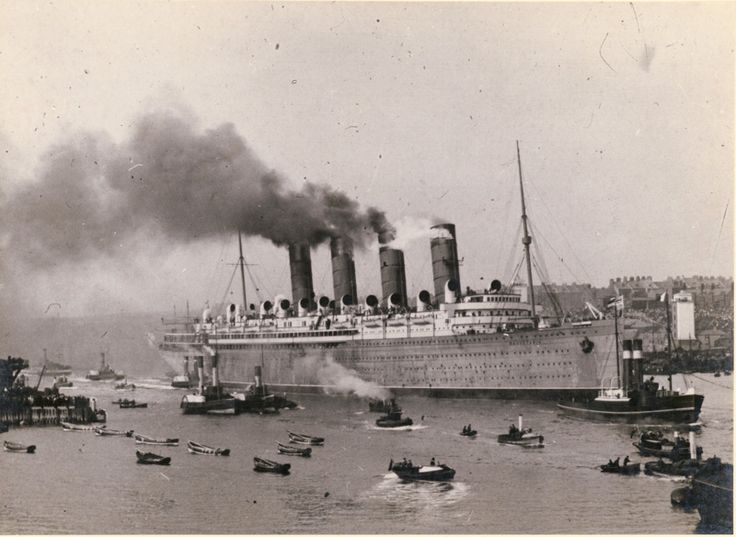 The Mauretania was the sister ship of the RMS Lucitania which was sunk by a German U-boat during WWI.  The British (and later Canadians) conscripted her for service.  She first served as a troop carrier and then became a hospital.  She was taken out of service in 1934 and dismantled for parts. Cunard Line.