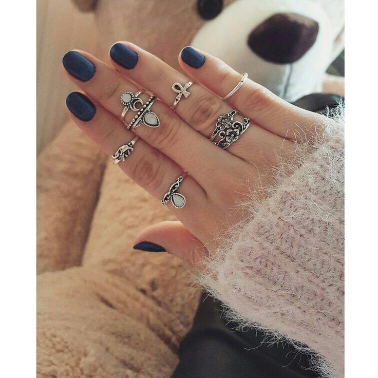 Boho style rings and blue nails  #boho #rings #jewelry #fashion #trend #inspiration #bohochic