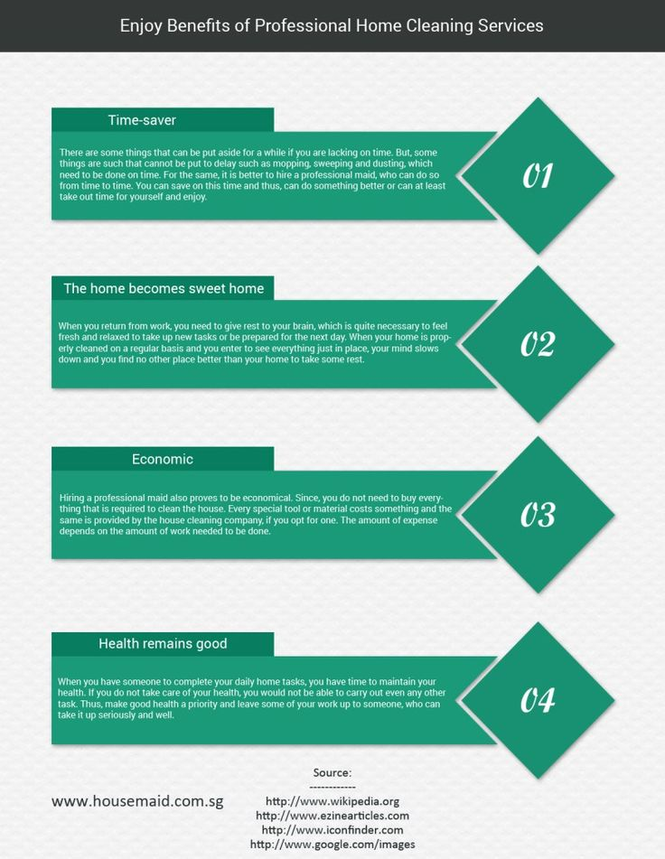 Benefits of Professional Home Cleaning Services http://www.liveinfographic.com/i/benefits-of-professional-home-cleaning-services/ Tags: #infographic  #infographics #popular #pinterest #pinterestinfographics