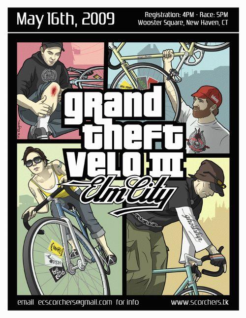 Velo Illustration 134: «Grand Theft Velo 2009, New Haven CT». Ein «Grand Theft Velo» ist ein informelles Fahrradrennen (engl.: Alleycat), eine Mischung aus Schnitzeljagd und dem Computerspiel «Grand Theft Auto». Die Teilnehmer (meist Fahrradkuriere) befestigen ihre «Startnummern» nicht auf dem Rücken, sondern zwischen den Speichen ihrer Fahrräder. Zu den schönsten «Startnummern» gehören jene aus New Haven (Connecticut).