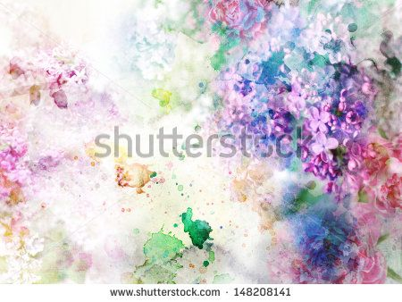 Abstract ink painting combined with flowers on grunge paper texture