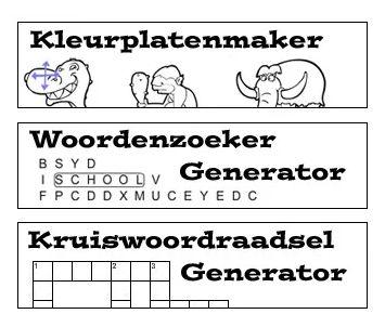 kleurplaatmaker, woordenzoeker generator kruiswoordraadsel generator