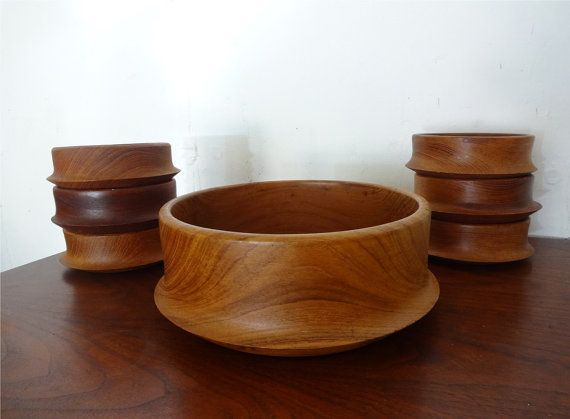 TEAK BOWL SET with Serving Size and Six Place by SelectModern