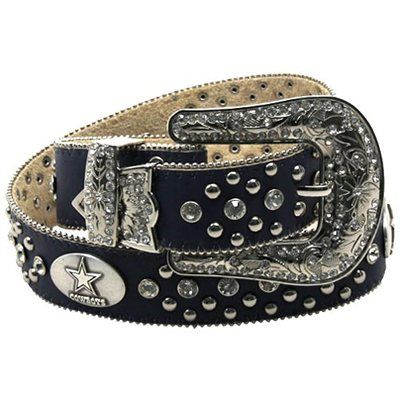 Dallas Cowboys Ladies Glitz Leather Belt - Navy Blue