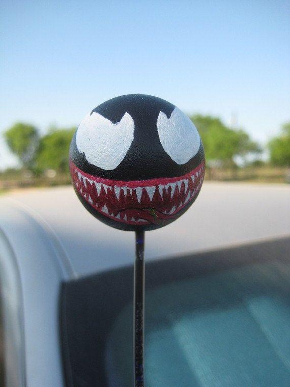 Venom car antenna ball by heroesheadquarters on etsy 7 for Antenna decoration