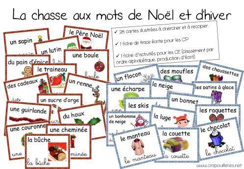 Chasse aux mots de Noel et d'Hiver. Étiquettes mots.