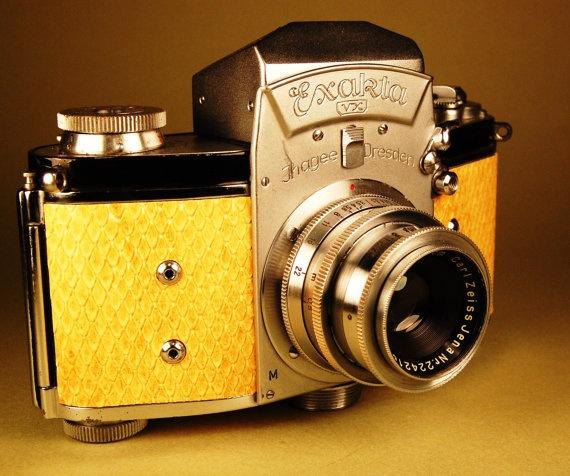 Ihagee Exakta VX camera with early brass Tessar lens by retrograph, $300.00