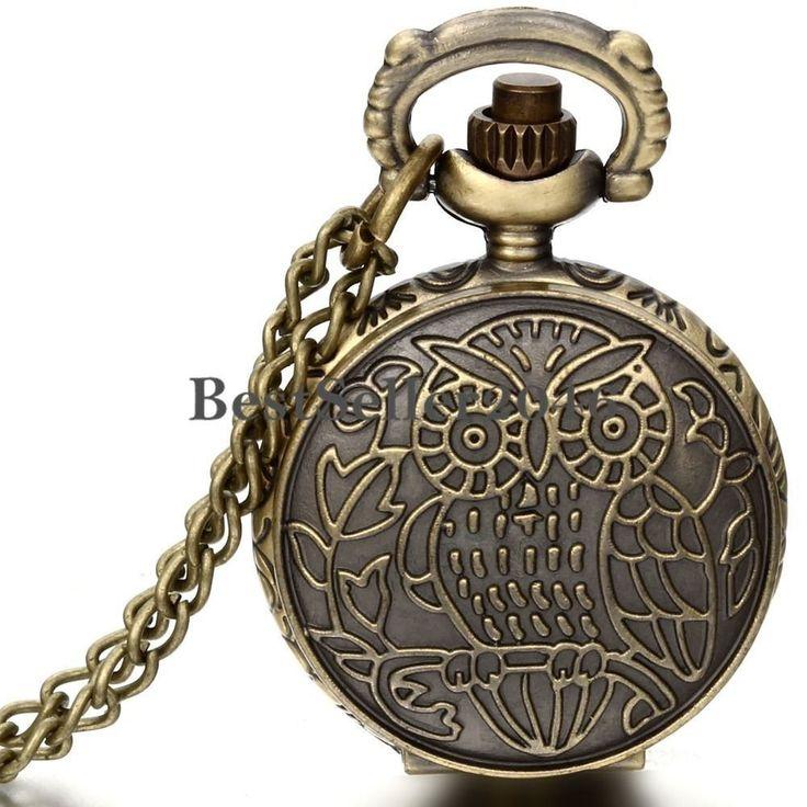 Vintage Bronze Owl Pattern Numerals Dial Quartz Pocket Watch Pendant Necklace #UnbrandedGeneric