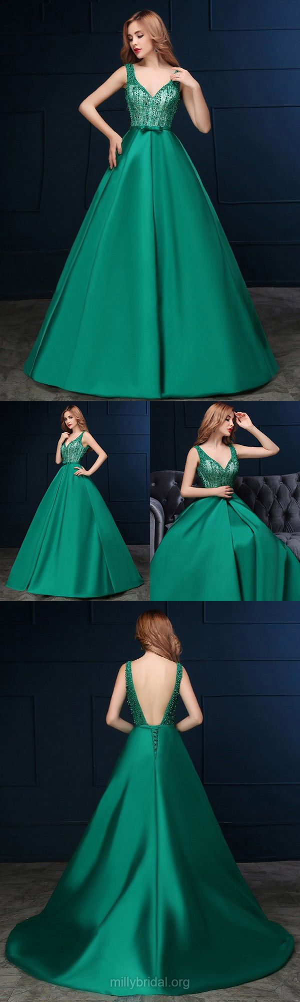 Ball Gown Prom Dresses Green, Long Prom Dresses V-neck, Satin Formal Party Dresses Backless Promotion