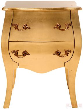 Commode Chevet Romantic Gold Leaf 2 Tiroirs