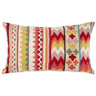 Linen & Moore Barbados Chainstitch cushion 650 x 400 embroidered