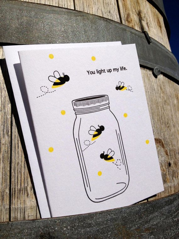 You Light up my Life Letterpress Card- Fireflies and Mason Jar Card