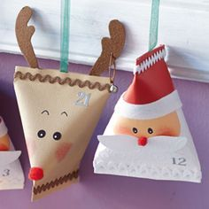 Tinker advent calendar yourself: Small parcels with Santa Claus and reindeer